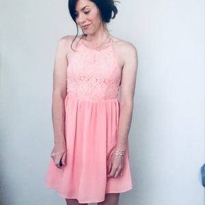 Altar'd State Lace High Neck Backless Dress Pink